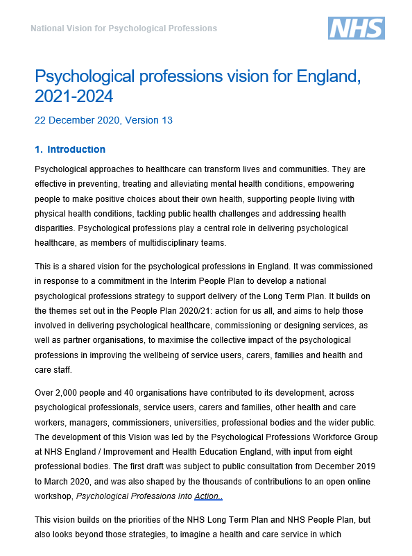 Psychological Professions Vision for England, 2021-2024
